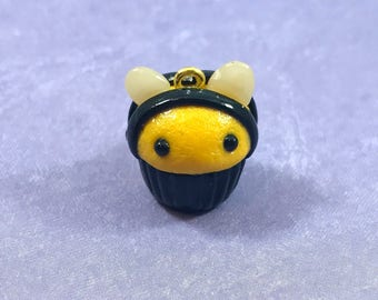 Bee Charm Polymer Clay Cupcake  - purse, keychain, backpack, planner