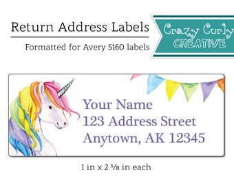 Rainbow Unicorn Return Address Labels, Custom Printable Return Address Labels, Invitation Stickers, Digital Download or Printed