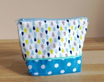 Wallet fabric, rain and blue dots