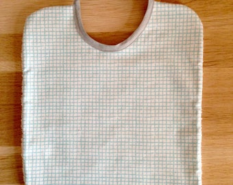 Bib, cotton and sponge, clouds, blue and white grid