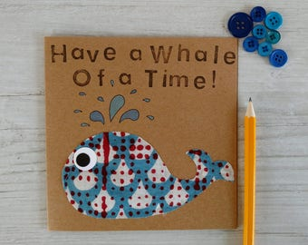 Happy Birthday Card - Birthday Card - Handmade Birthday Card - Animal Birthday Card - Whale Card