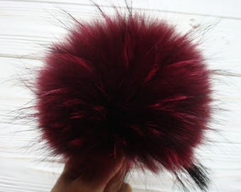 Luxury MARSALA detachable real fur pom pom made from genuine raccoon fur for knitted hat, scarf or hood