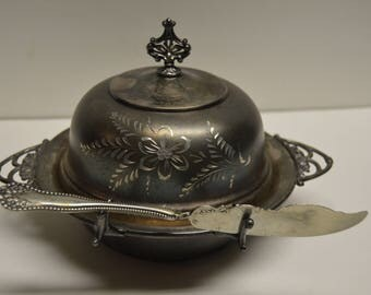 Victorian Quadruple Plate Butterdish with Knife