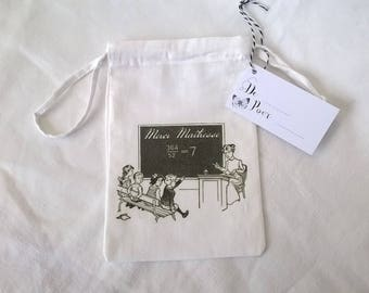 Fabric pouch class vintage gift for teachers and label