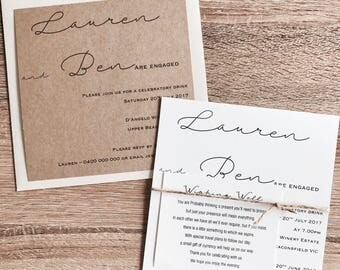 Personlised Engagement Invitations with wishing well & envelope options