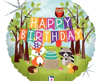 "Woodland Animals 18"" HAPPY BIRTHDAY Foil Mylar Balloon Party Decorations Centerpiece Photo Prop Fox Owl Squirrel Raccoon Hedgehog"