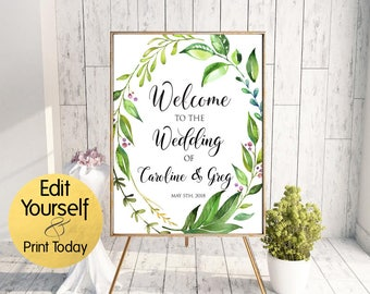 Welcome Wedding Sign Template, Greenery Welcome Sign, Greenery Welcome Sign, Welcome Sign Template, Greenery Welcome, Editable Welcome Sign