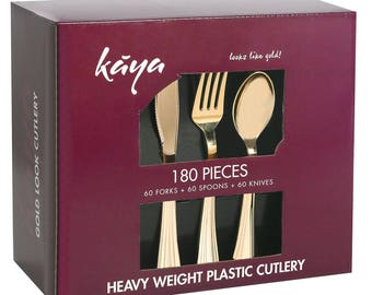 Kaya Collection - Plastic Silverware Set - Gold Cutlery - Disposable Flatware, 60 Forks, 60 Knives and 60 Spoons Groove Design (180 Pieces)