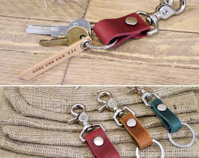 Leather key chain, FREE TAG, Classic style keychain, Leather key holder, Stylish leather key chain, Handmade key holder, Gift ideas.