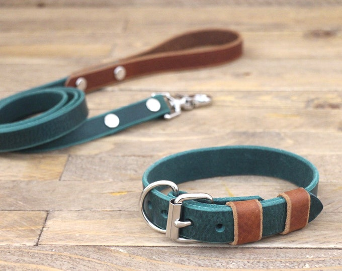 Free personalisation, Sale 15%, Collar and leash set, Leather leash, Silver hardware, Forest, Cowboy brown, Handmade collar and leash.