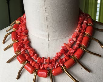 Three strand coral necklace