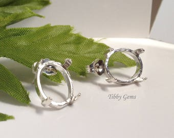 Two Oval Cabochon Sterling Silver Earring Setting (5X3mm-12X10mm) . 162-650