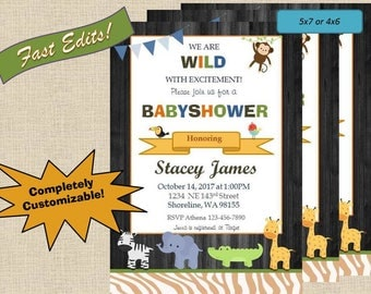 Safari Themed Babyshower Invitations
