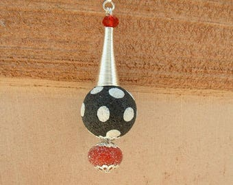 BEAUTIFUL PENDANT POLYMER CLAY AND PEARL SUGAR ON 925 STERLING SILVER CHAIN