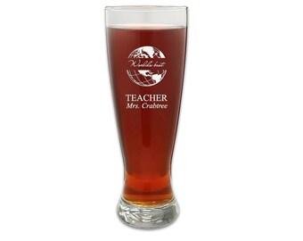 Personalized Pilser Glass Best Teacher Gift - Customized World's Best Teacher Tall Pilsner Glass - Laser Engraved Teacher's Gift