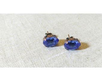 Earrings ocean blue and bronze Swarovski Crystal
