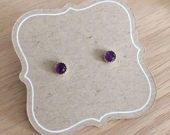 Petite Amethyst Stud Earrings, 4mm gemstone cabochon, sterling silver stud, Amethyst, little girls earrings, jewelry for girl, gift for her