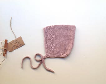 READY TO SHIP - 100% cashmere baby Pixie Bonnet  hat  color Old rose, hand knitted, size 0-3 months