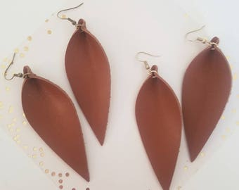 "Brown Leather Earrings/ FREE SHIPPING/ Joanna Gaines Magnolia Zia Inspired/ Elongated Leaf Shape/ Lrg/ 3.5""x1.25""/ Antique Brass Hooks/Gift"