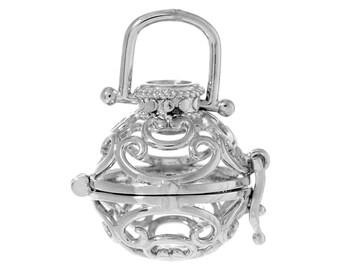 1 Angel Caller Bola Harmony Ball Wish Box Pendant Round Antique Silver Fits 16mm Bead (B470h)