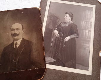 Cabinet cards. 2 x Victorian Austrian, black and white photographs, Husband and wife maybe. Ida Sabbo.