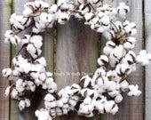 Small Cotton wreath - Cotton boll Wreath - Preserved cotton Wreath - Candle Wreath -Wedding Wreath - Cotton bolls