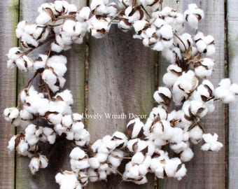 Small Cotton wreath - Cotton boll Wreath - Preserved cotton Wreath - Candle Wreath -Wedding Wreath - Cotton bolls