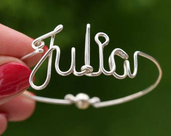 Name Bracelet, Silver Custom Bracelet, Handmade Customized Bangle, Name Bangle, Wire Bangle, Personalized Jewelry