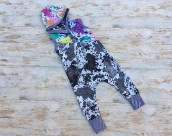 Harem Jumpsuit, Baby Romper, Baby Harem Romper, Baby Boy Romper, Baby Girl Romper, Toddler Romper with Hood, Gender Neutral Baby Clothes