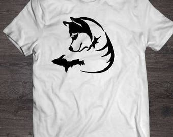 Michigan husky shirt, white, husky shirt, tshirt