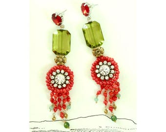 Gorgeous OOAK Maxi Earrings with Crystals and Beaded Fringe