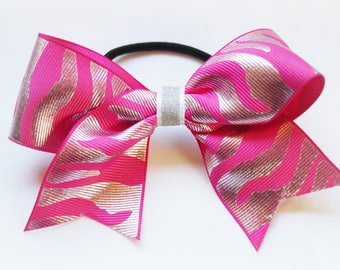 Pink and Silver ZEBRA PRINT Hair BOW