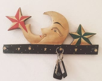 Moon and Stars Wooden Wall Mount Key Rack