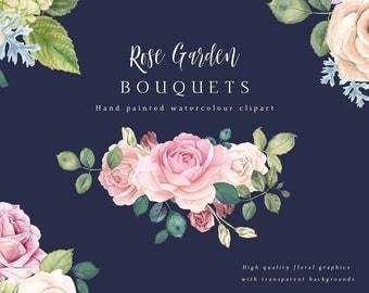 Flower Bouquet Clipart - Rose Garden. Beautiful floral graphics with transparent backgrounds.
