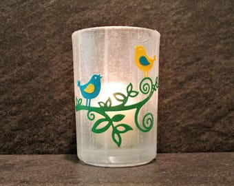 Birds on a Branch Large Votive Candle Holder with Candle