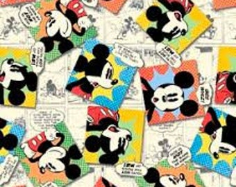 """Mickey Tossed Comics by Springs Creative fabric, By the Half Yard, 42"""" wide, 100% cotton"""