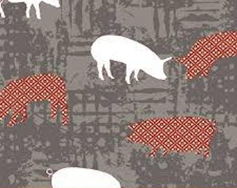"""Pigs, Farm to Fork by Windham fabrics, 44"""" wide, 100% cotton, quilting cotton"""