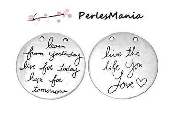 2 pendants MESSAGE LIVE YOUR LIFE 30mm (S1161525) ANTIQUE silver medal