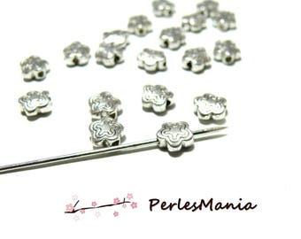 PAX 50 beads spacer antique silver H11690 double flower