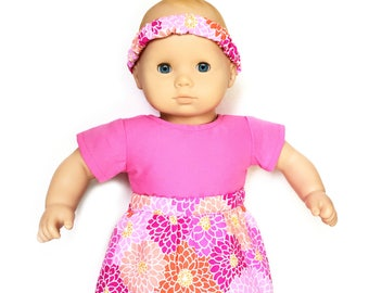 Flare Skirt, Flowers, Headband, Pink, Orange, White, Fits dolls such as American Girl Bitty Baby Twin, 15 inch Doll Clothes, Summer