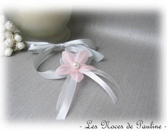 Wedding White Pink Ribbon Bracelet and gray flower silk child witness bracelet bridesmaid bracelet