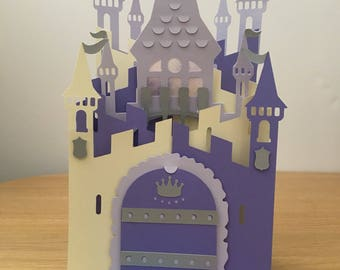 Pop up castle card for daughter, cascade card for special girl,  3D queen of the castle card for granddaughter, princess, fairy tale castle