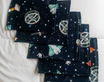 Cloth napkins school lunch space print kid-friendly zero waste