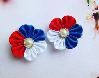 Patriotic hair clip accessories for girls set of 2 bow baby flower little clips barrettes clippies small flowers red white blue kanzashi