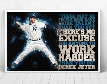 Derek Jeter Illustration / Derek Jeter Poster / Derek Jeter / Yankees / #2 / RE2PECT