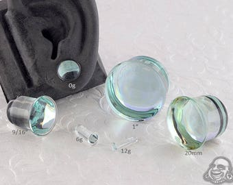 "Single Flare Aquamarine Dome Plugs 12g, 10g, 8g, 6g, 4g, 2g, 1g, 0g, 9mm, 10mm, 7/16"", 12mm, 9/16"", 5/8"", 18mm, 20mm, 7/8"", 1"""