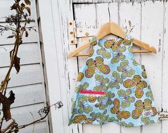 Australian Made Little Girl Dress Butterfly Cotton Dress Butterfly Party Dress Butterfly Dress Aline Dress Toddler Dress Baby Girl Dress