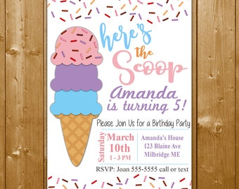 Ice Cream Invitation, Ice Cream Party Invitation for a Girl, Here's the Scoop Party Invite,Free Thank You Note