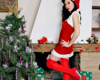 Cute And Sexy Mini Skirt Christmas Costume Santa Style