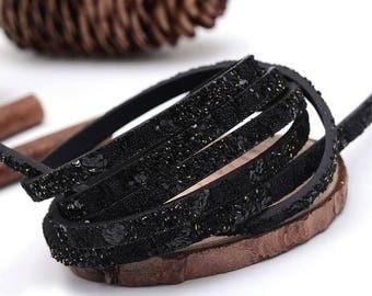 1.4 metre flat cord 5mm black glitter / leatherette